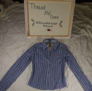 Hollister Blue Button Down Long Sleeve Shirt